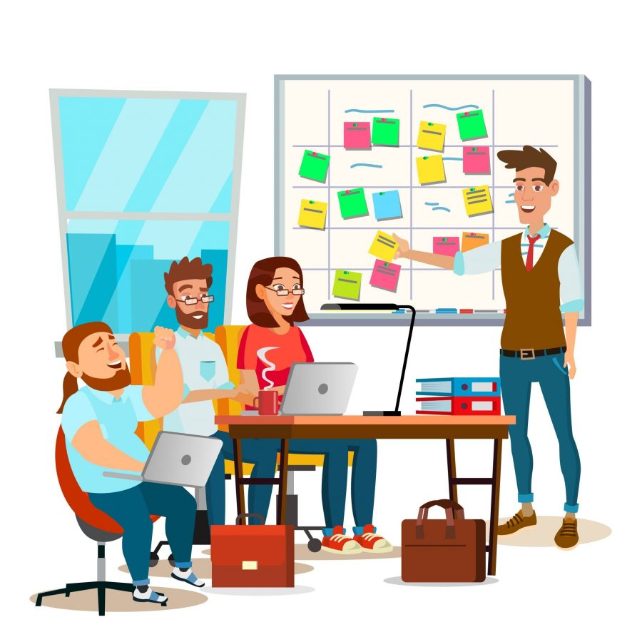 SEO-网站建设-Business Characters Scrum Team Work Vector. Office Tasks Process. Scrum Planning Board. Whiteboard And Process Teamwork. Programming And Planning. Scheme Methodology. Flat Cartoon Illustration