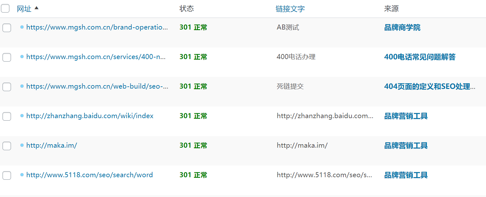 网站内链返回301状态码的情况都有哪些?